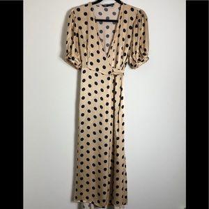 Zara gold polka dot dress